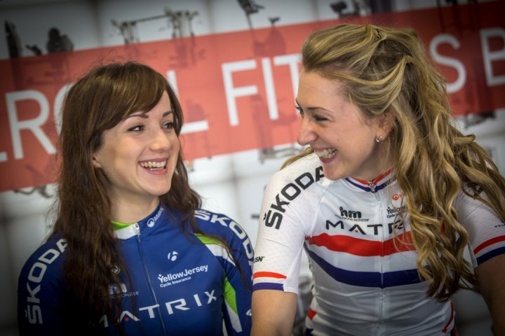 Elinor Barker and Laura Trott by Huw Williams